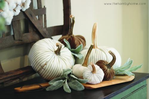 ticking-stripe-velvet-and-drop-cloth-pumpkin-vignette