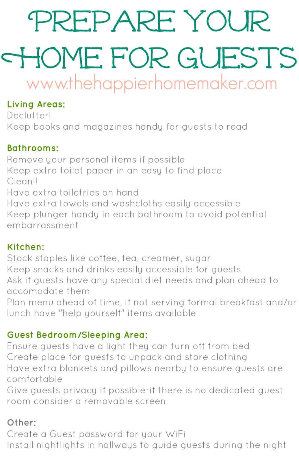 How To Prepare For Holiday House Guests And Free Printable Checklist The Happier Homemaker