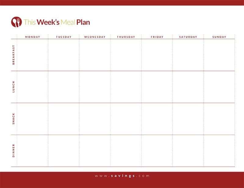 Weekly Meal Plan with Breakfast, Lunch, Dinner and Snacks - The