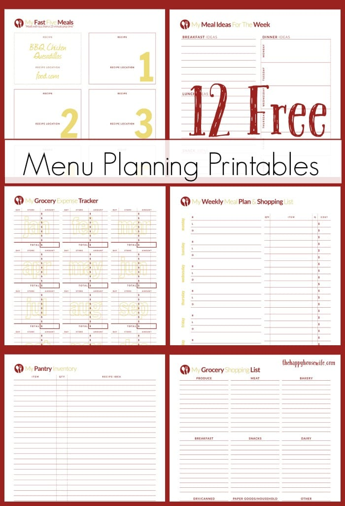 Free Printables for Meal Planning - The Happy Housewife™  Cooking