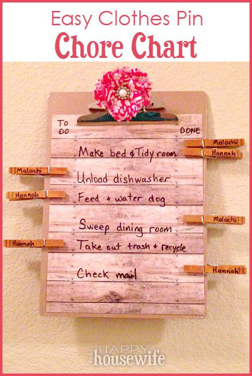 Easy Clothes Pin Chore Chart - The Happy Housewife™  Home Management - chore chart