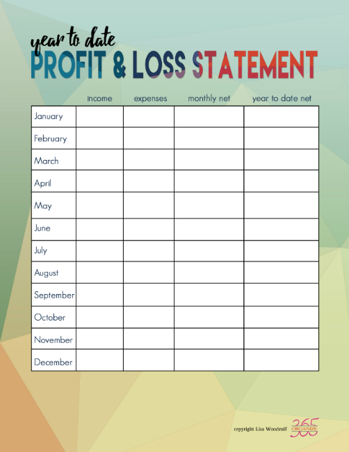 Income and Expense Tracking Printables - The Happy Housewife - business profit and loss statement form