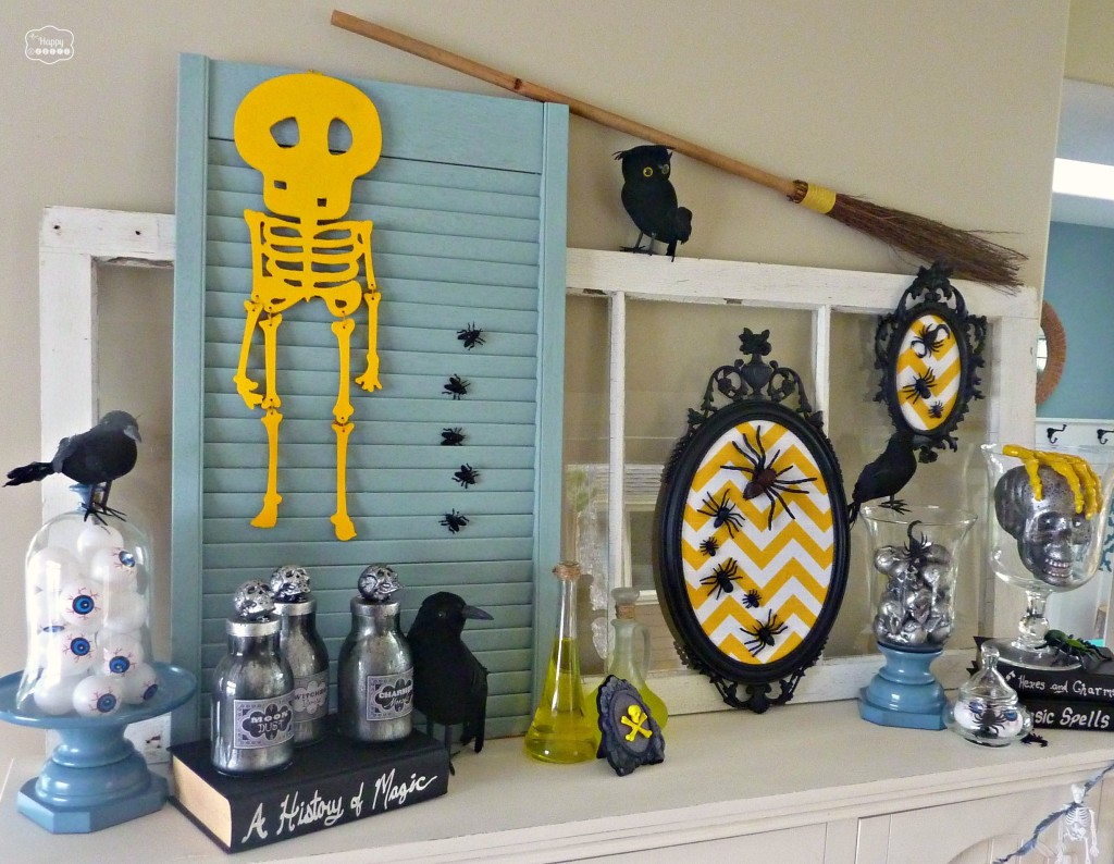 Thrifty Halloween Mantel Fun Frugal Ideas For Halloween Decor The Happy Housie