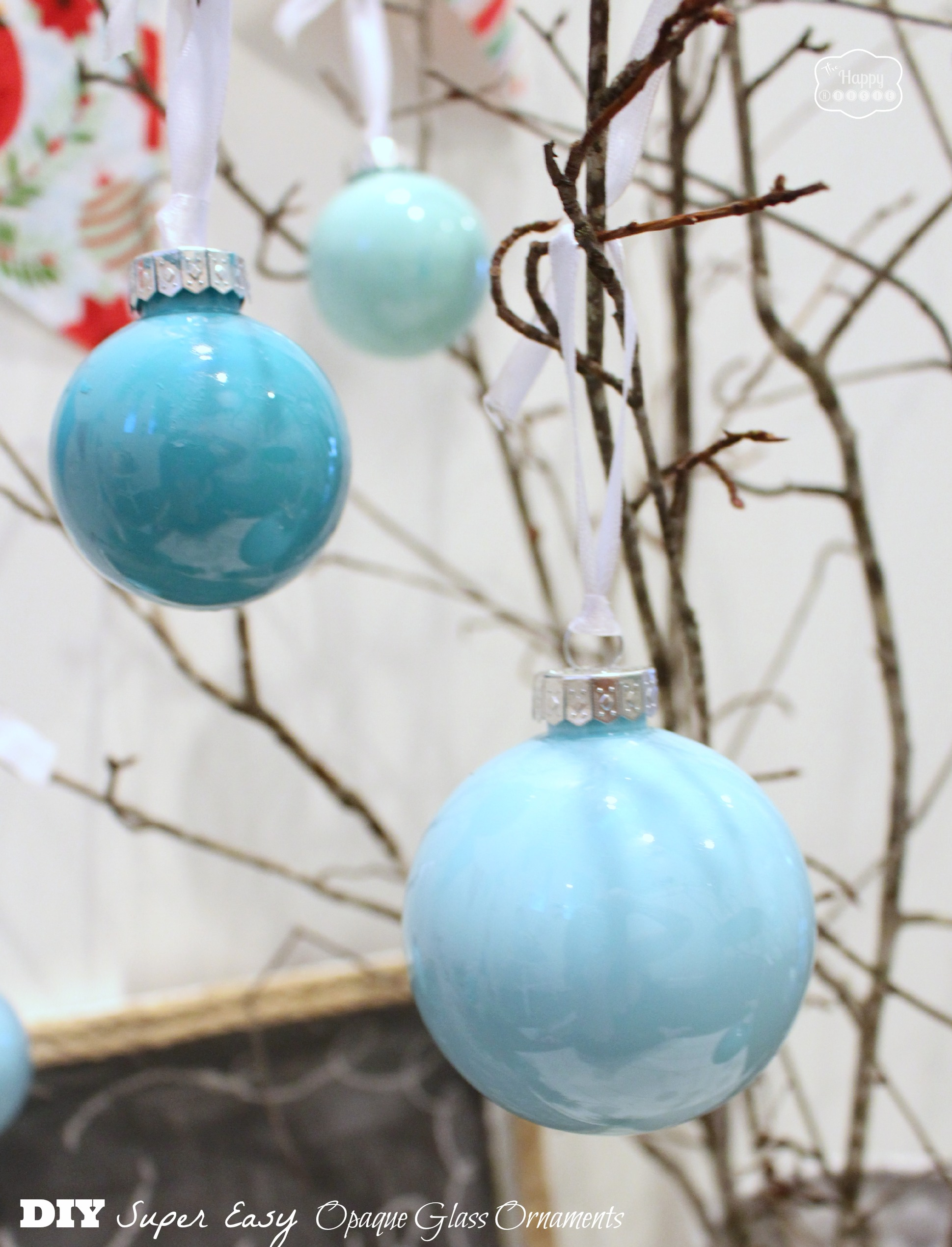 Diy super easy opaque glass ornaments closeup at thehappyhousie