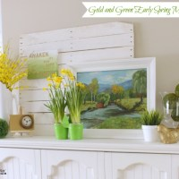 Gold and Green Early Spring Mantel