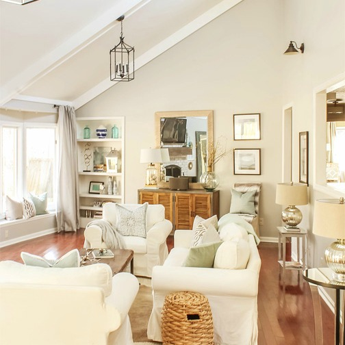 Light, Bright, & Airy Living Room Tour {Designing Vibes