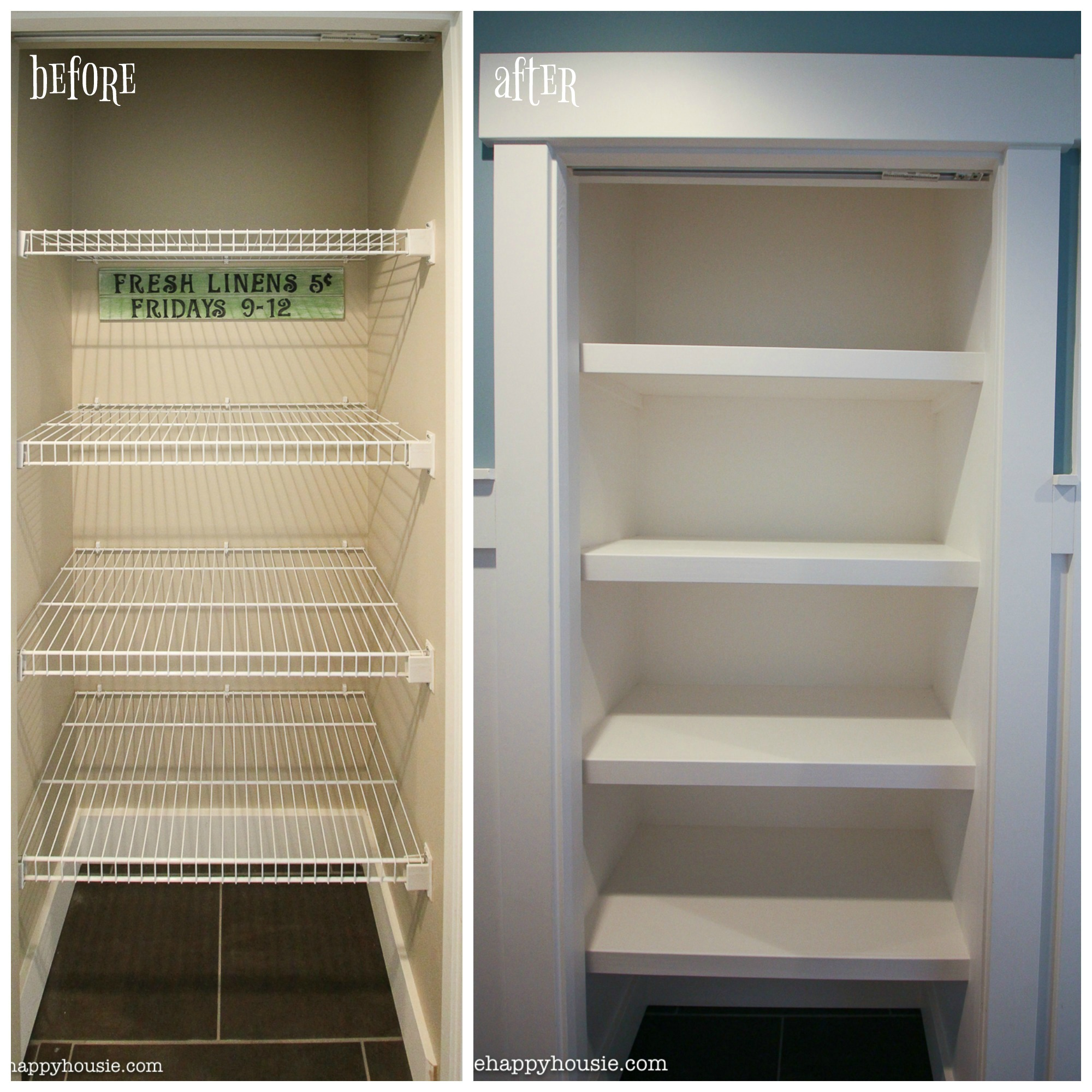 Diy Linen Closet How To Replace Wire Shelves With Diy Custom Wood Shelves