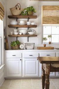 Farmhouse Kitchen Open Shelving Choices | The Happy Housie