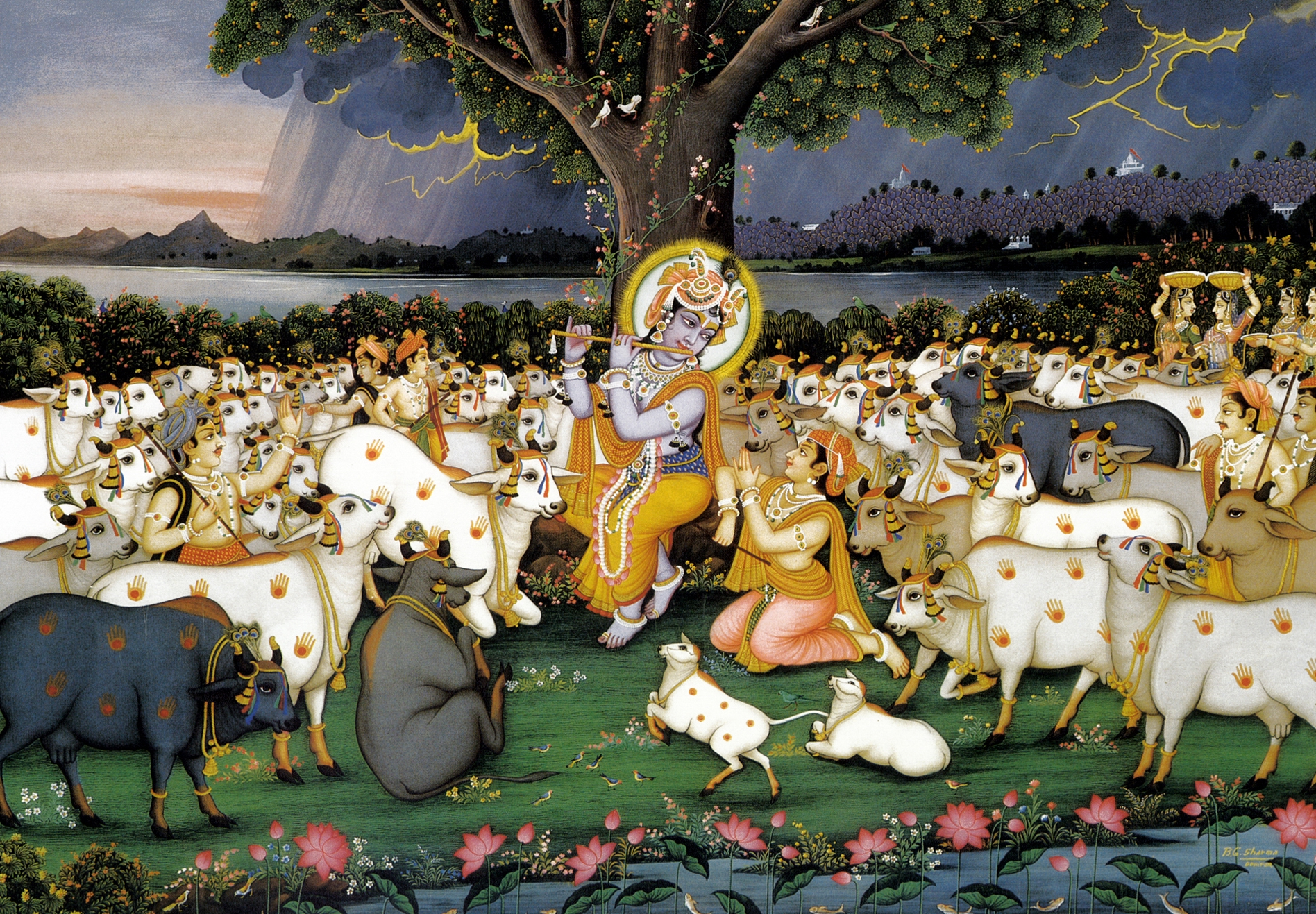 Krishna And Radha 3d Wallpaper The Main Activity Will Be Cow Protection The Hare