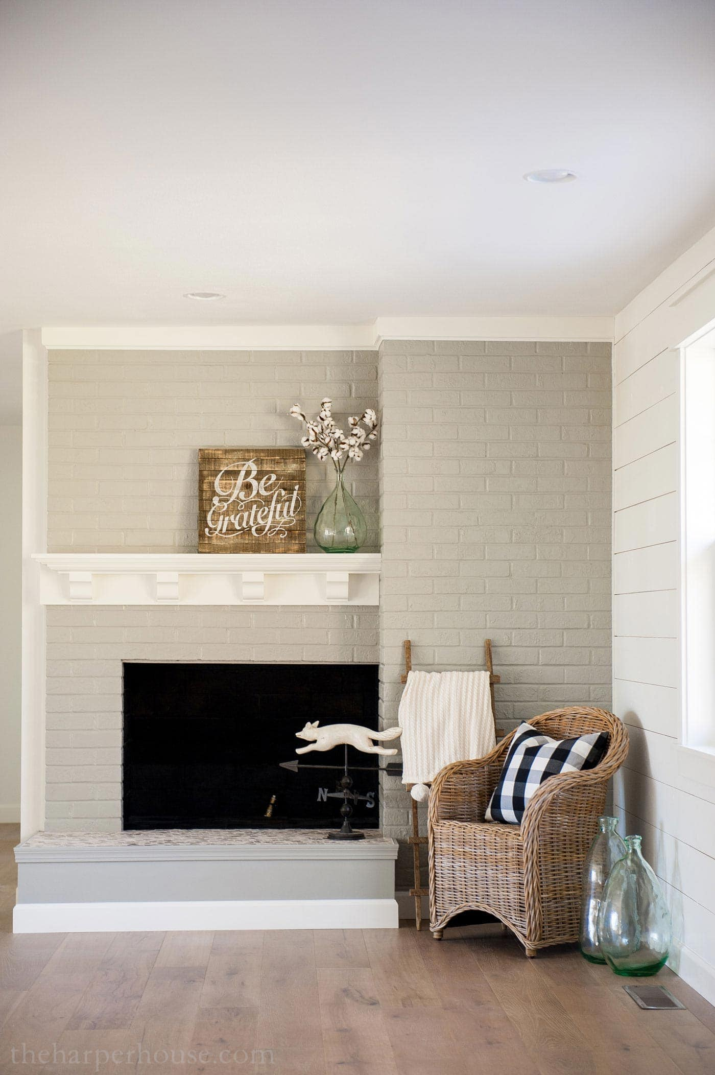 Brick Fireplace Wood Mantel Brick Fireplace Makeover You Won T Believe The After The Harper