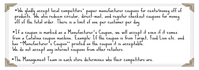How to use Competitor Coupons at Harris Teeter  Your Questions - coupon disclaimer examples