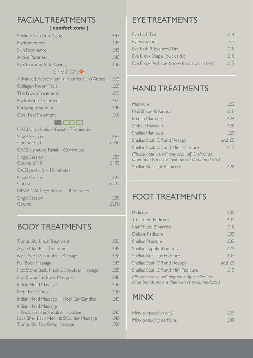 Beauty Salon Prices Prices The Haven