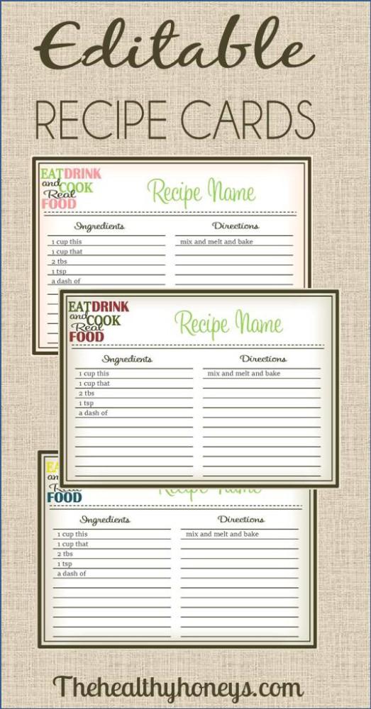 free editable recipe card templates