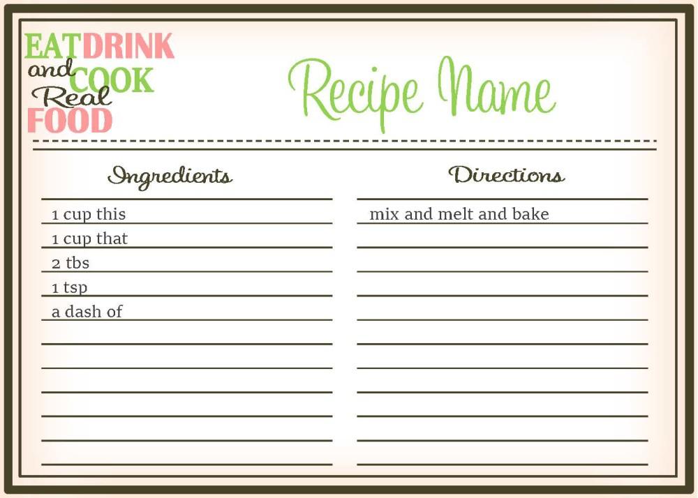 Real Food Recipe Cards DIY, Editable - The Healthy Honeys - recipe card
