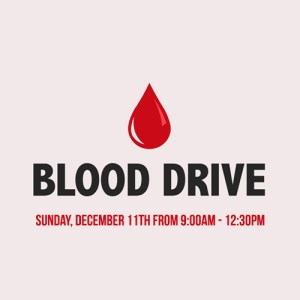 On Sunday, December 11th from 9:00am to 12:30pm we will be hosting a blood drive from Carter Bloodcare. Help save a life by donating this precious resource. The process does not take long and walk-ins are welcome. You can also preregister HERE.