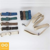 SESAME HEMP CANVAS DOG COLLAR & LEASH