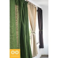 "TABBED HEMP CURTAIN PANEL (73.3"" X 72"")"