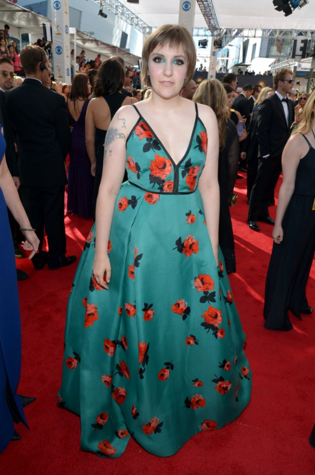 The He Said She Said Experience- Fashion Desk- 2013 Emmys-Lena Dunham in Prada