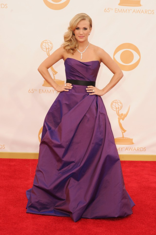 The He Said She Said Experience- Fashion Desk- 2013 Emmys- Carrie Underwood in Romona Kaveza