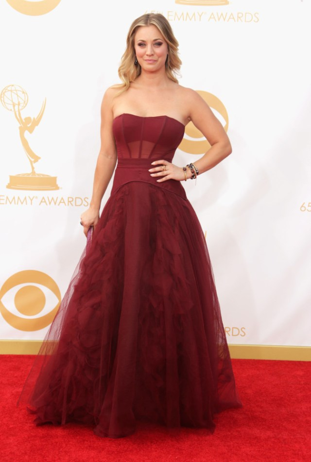 The He Said She Said Experience- Fashion Desk- 2013 Emmys- Kaley Cuoco in Vera Wang