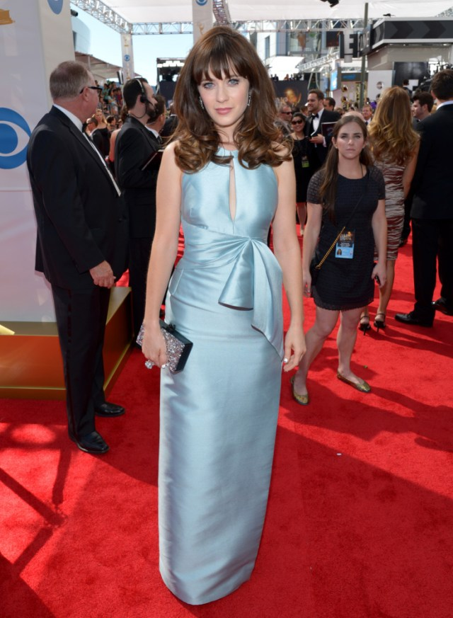The He Said She Said Experience- Fashion Desk- 2013 Emmys-Zooey Deschanel in J. Mendel