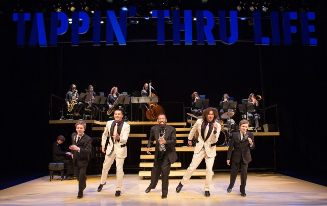 (L-R) Max Heimowitz, John Manzari, Maurice Hines, Leo Manzari and Sam Heimowitz, with members of the DIVA Jazz Orchestra, in Maurice Hines is Tappin' Thru Life at Arena Stage at the Mead Center for American Theater November 15-December 29, 2013. Photo by Teresa Wood.