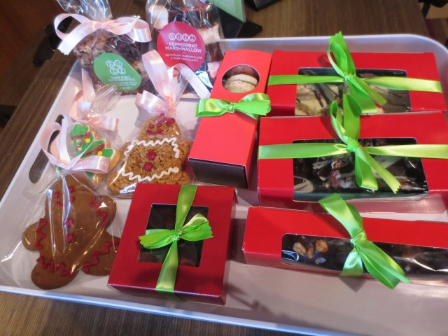 Some of the delicious stocking stuffers from Buzz Bakery- macarons, buckeyes, cookies and more!