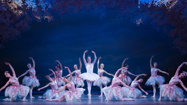 """Center: Morgann Rose (Dew Drop Fairy) in The Washing Ballet's production of Septime Webre's """"The Nutcracker."""" Photo by Paul Zambrana"""