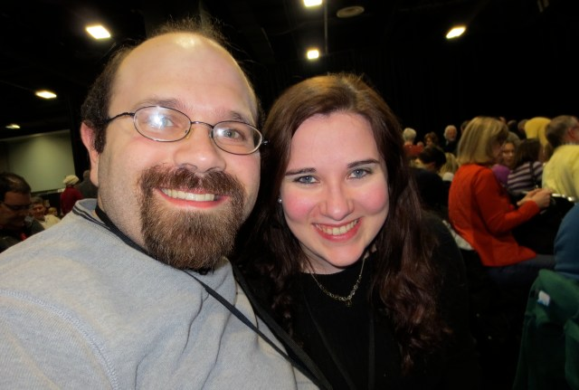 Kari and RJ at 2013 Travel & Adventure Show waiting to hear Arthur Frommer