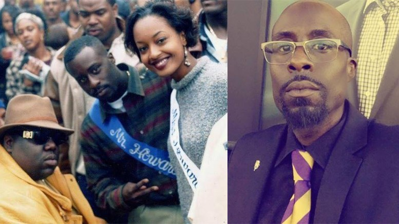 """[LEFT] Pictured is rapper Biggie Smalls (left) at """"Yardfest"""" during Howard University's 1995 Homecoming with then Mr. Howard University, La'Mont Geddis (middle), and Miss Howard University, LaChanda Jenkins (right).  [RIGHT] Current picture of La'Mont Geddis, Howard University Alumnus, class of 1996. (Photos Courtesy of La'Mont Geddis)"""
