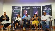 Stefanie Brown James, left, hosts a panel with guests (from left-to-right) Tamika Mallory, Kwame Jackson, Yandi Smith and Telley Madina in the Blackburn Digital Auditorium on Thursday, October 20. (Photo Credit: Jaylin Paschal, Culture Staff Writer/The Hilltop)