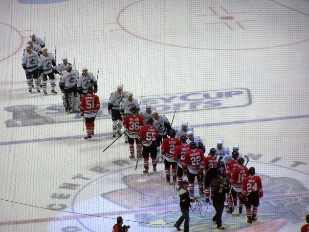 The handshake at the end of a series is respected across the sports world (photo property of Pam Rodriguez)