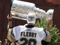 Marc-Andre Fleury reminded everyone why he hoisted the Cup last June as he stopped 37 of 38 Calgary shots. (Alicia Rae/Flickr)