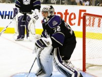 Jonathan Quick, foreground, and Jonathan Bernier will share evenly the next four starts with each goalie getting a go in his hometown (Photo by Heather Abrahamson).