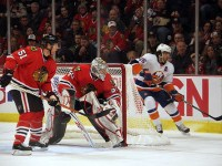 Corey Crawford will likely be in goal against the Islanders this time around - and not Scott Darling - so the Islanders will have their work cut out for them even though they are playing a Patrick Kane-less Chicago team. (picture by Cheryl Adams/HockeyBroad)
