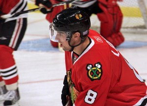 Nick Leddy during warmups for a Chicago Blackhawks game