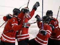 Keith Aulie and Tyler Myers celebrate a Jordan Eberle goal at the 2009 World Junior Championships in Ottawa. Photo Courtesy Reuter Daylife, Creative Commons