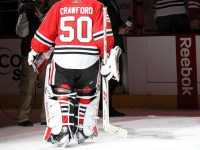 Corey Crawford honored as first star of the night Jan 9th vs NYI (picture by Cheryl Adams)