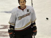 Selanne scored twice Friday and got in the second fight of his illustrious career Saturday (Photo by Herman Von Petri).