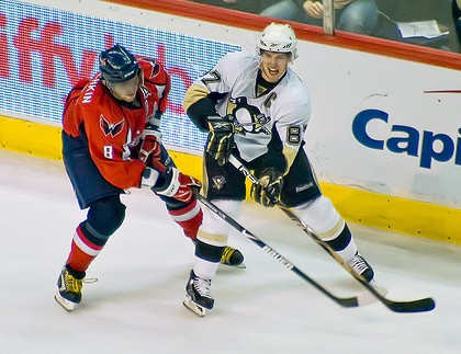 Ovechkin and Crosby, who were both held pointless Thursday night (Tom Turk/THW).