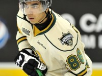 London Knights forward Andreas Athanasiou claimed that he was the target of a racial slur but his alleged taunter, Guelph Storm defenceman Andrey Pedan, was not suspended.  However, not long after, another similar incident resulted in a five-game suspension for Windsor Spitfires blueliner Brandon Devlin.  (Photo: Aaron Bell/OHL Images)