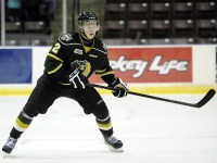 Olli Määttä will likely end up back in his Knights jersey, but he has played well in black and gold.  (Photo: Aaron Bell/OHL Images)