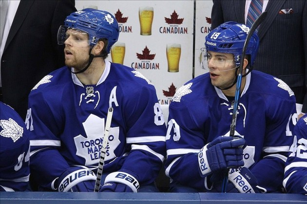 Phil Kessel and Joffrey Lupul of the Toronto Maple Leafs.