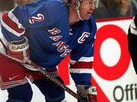 Brian Leetch, captain of the NHL's New York Rangers, during a game in Vancouver, BC.