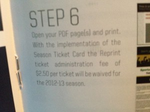 Winnipeg Jets Season Ticket Booklet Fee Description