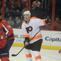 John Erskine and John Carlson against the Philadelphia Flyers on Friday night. (Tom Turk/THW)