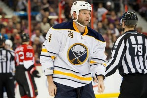 Could Robyn Regehr be on his way out of Buffalo? (Marc DesRosiers-USA TODAY Sports)