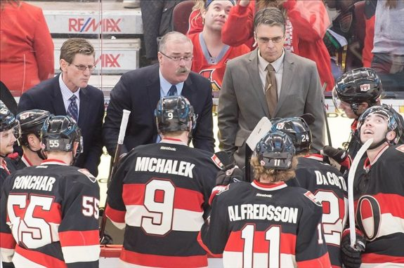 Mark Reeds, Paul MacLean, and Dave Cameron. (Marc DesRosiers-USA TODAY Sports)