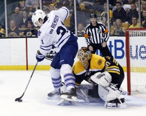 James Van Riemsdyk being a nuisance to Tuuka Rask, as he should. (Greg M. Cooper-USA TODAY Sports)