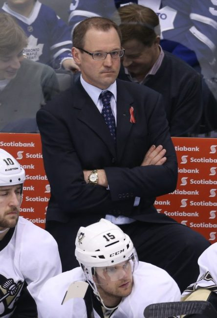 Dan Bylsma better have the Pittsburgh Penguins ready for the Playoffs, or his job may be in jeopardy.(Tom Szczerbowski-USA TODAY Sports)